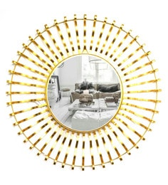 Golden Glass And Metal Demetry Wall Mirror