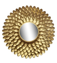 Golden Glass And Metal Leaf Design Wall Mirror