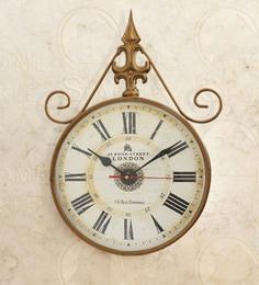 Golden Mild Steel 11 X 2.5 X 15 Inch Vintage Wall Clock