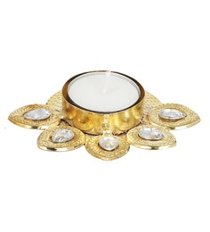 Golden With Stone Metal Tea Light Candle Holder
