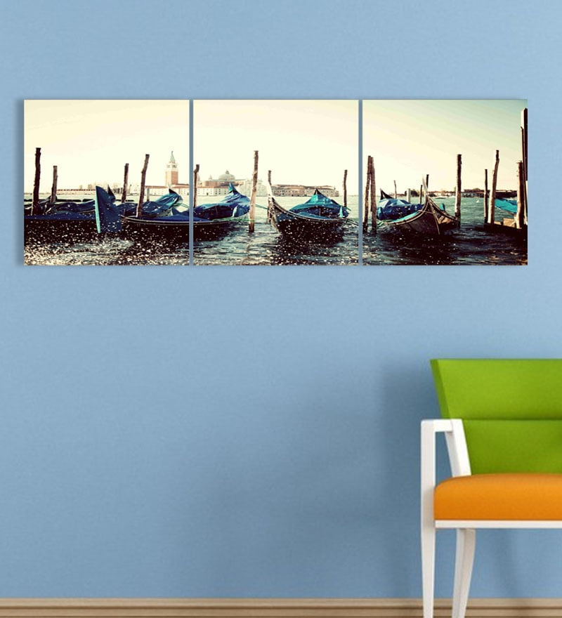 MDF 27 x 9 Inch 3-Panel Boats Wall Decor by Go Hooked