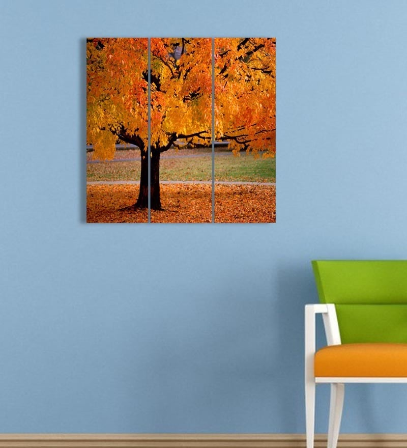 MDF 18 x 18 Inch 3-Panel Bright Tree Wall Decor by Go Hooked