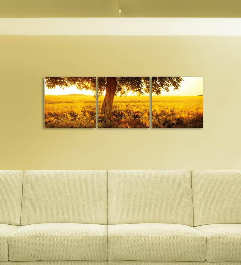 MDF 27 x 9 Inch 3-Panel Sunset Amidst The Fields Wall Decor by Go Hooked