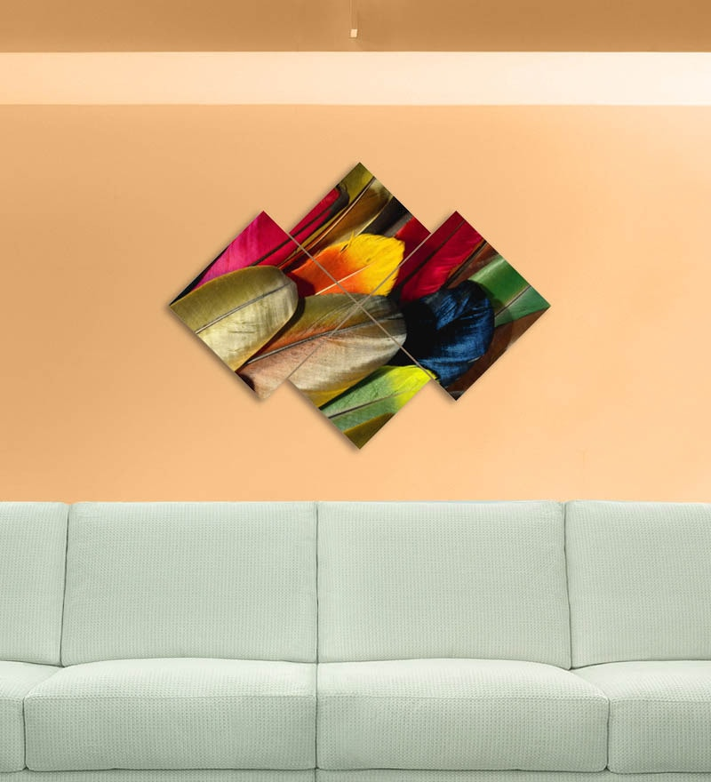MDF 34 x 24 Inch 4-Panel Colourful Feathers Wall Decor by Go Hooked