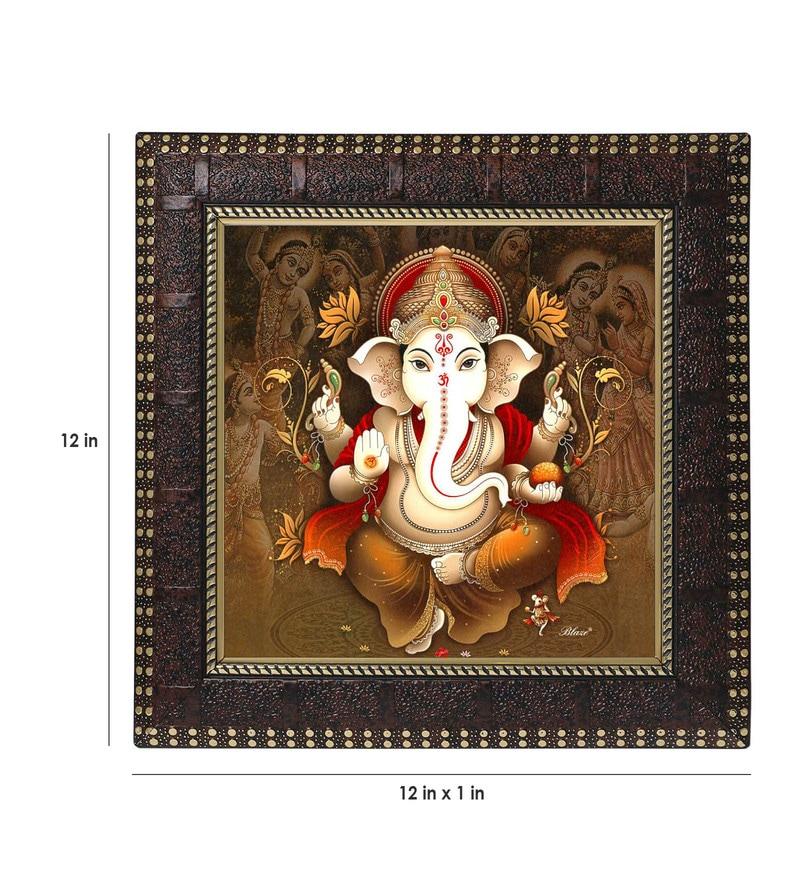 MDF 12 x 1 x 12 Inch Ganesha Designer Framed Art Print by Go Hooked