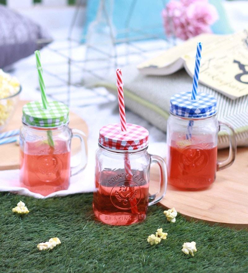 Godskitchen Glass 500 ML Mason Jars with Lid & Straws - Set of 3