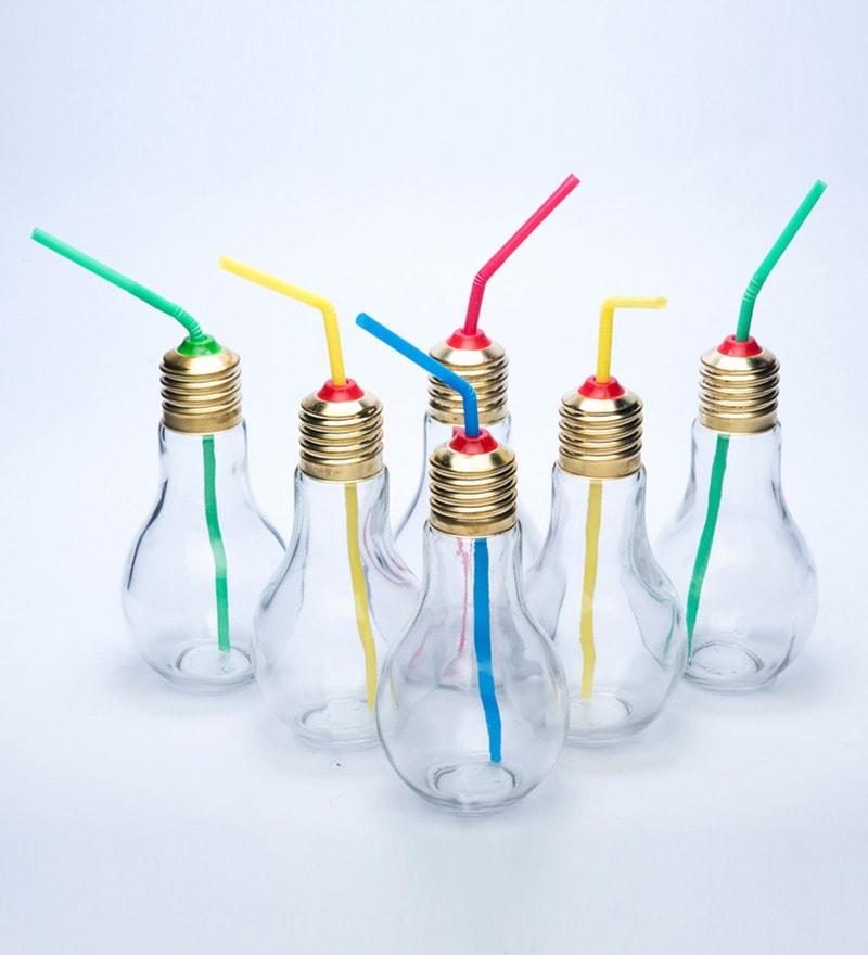 Godskitchen 400 ML Bulb Shape Funky Glasses - Set of 6