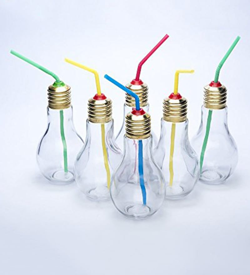 Godskitchen Bulb Shape Glass 180 ML Jar with Straw - Set of 6