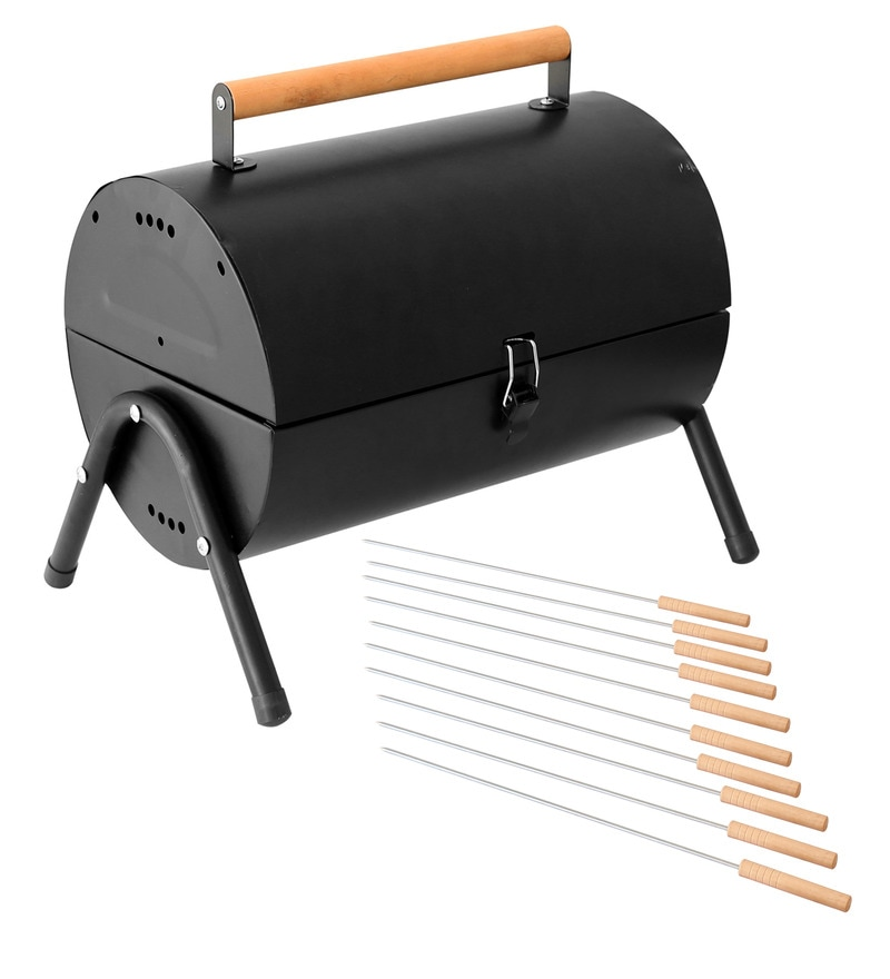 Round Top Lightweight Portable Barbeque Grill & pack of 12 skewers by GodsKitchen