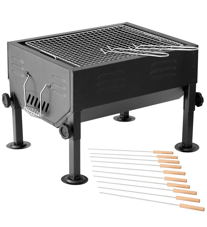 Table Top Lightweight Barbeque Grill with Stand & pack of 12 skewers by GodsKitchen