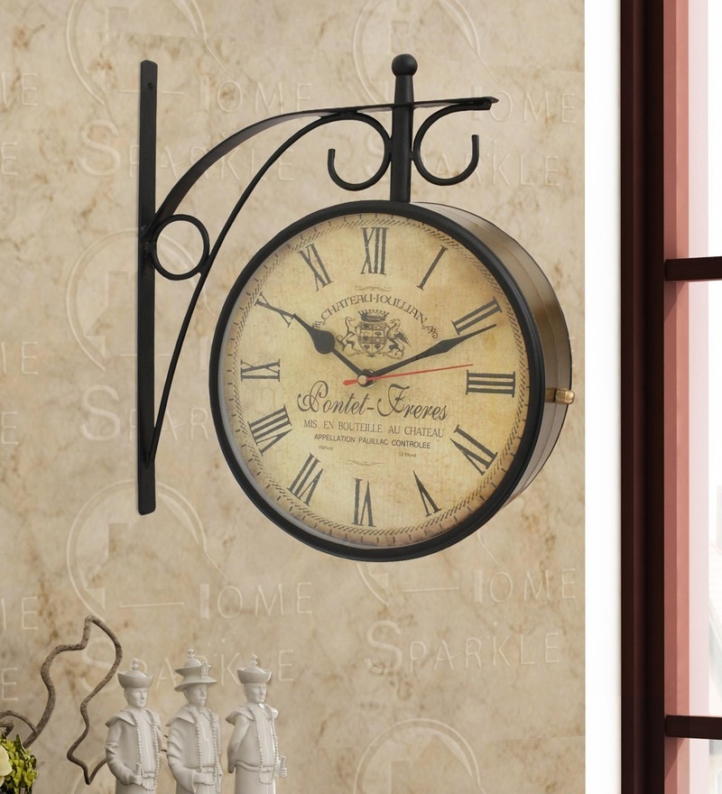 Gold & Black Mild Steel 11.5 x 4 x 12 Inch Vintage Style Two Sides Station Clock by Home Sparkle