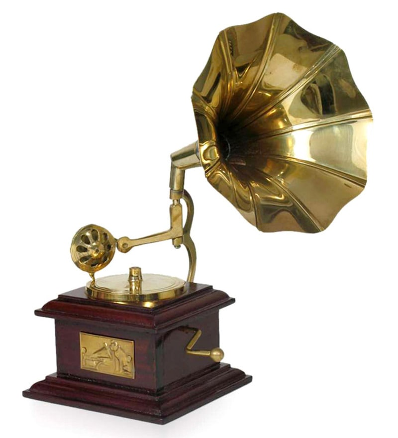Gold and Brown Brass & Wood Square Gramophone By Home Sparkle