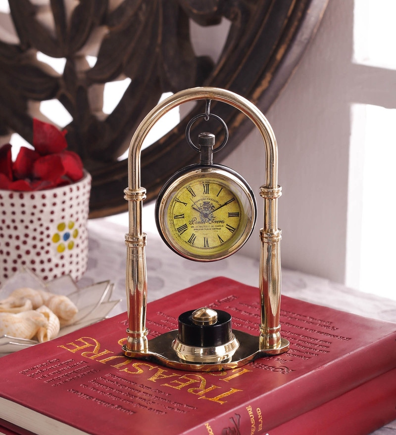 Gold Brass And Acrylic Table Clock - 1727612