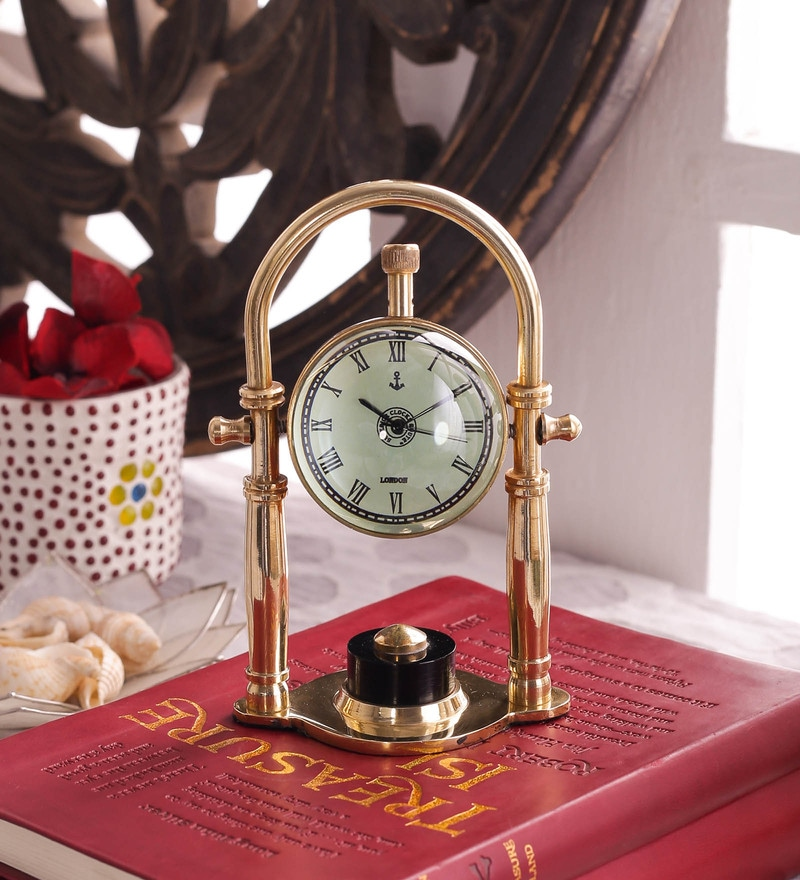 Gold Brass And Acrylic Table Clock - 1727614