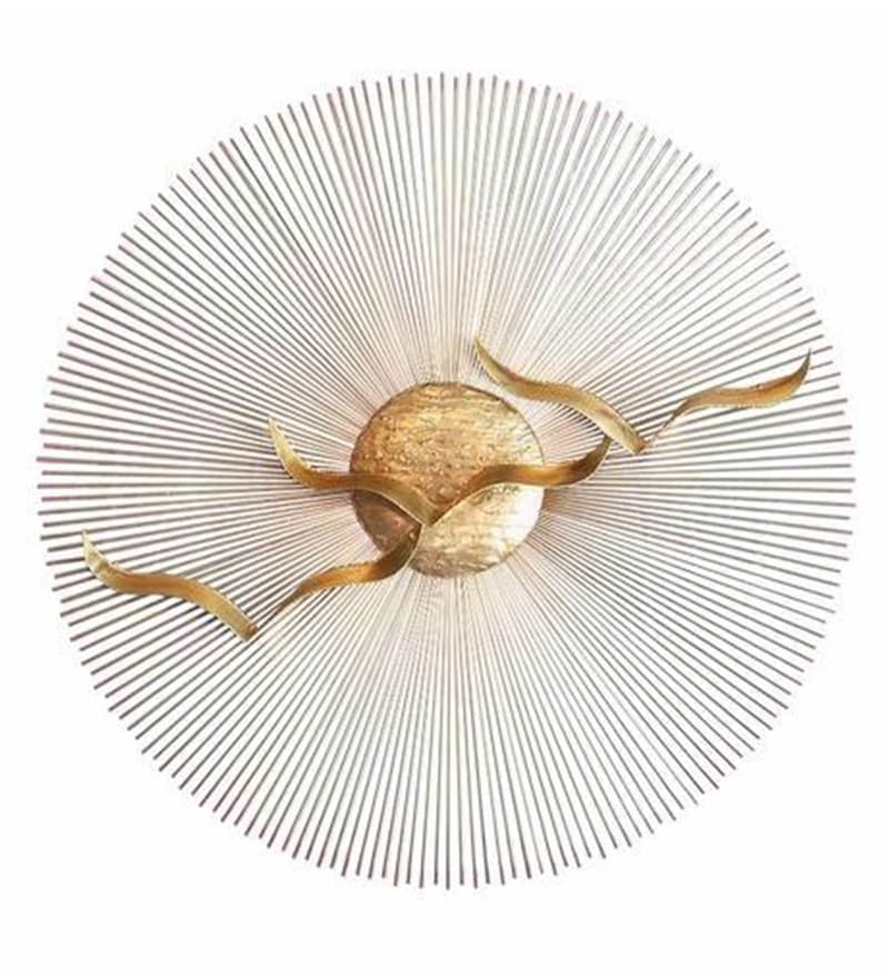 Gold Metal 30 x 1 x 30 Inch Flying Bird to Sun Wall Art by Craftter