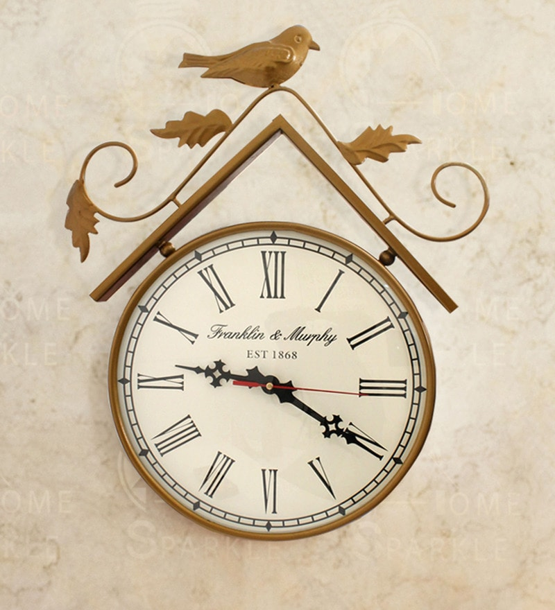 Gold Mild Steel 13 x 2.5 x 16 Inch Cute Sparrows & Leaves Wall Clock by Home Sparkle
