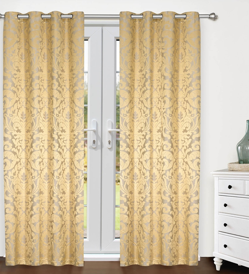 Gold Polyester Door Curtains - Set of 2 by S9 home by Seasons