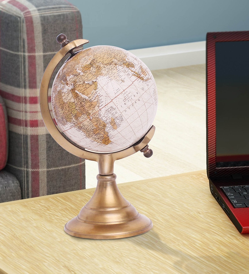 Golden Aluminium Metal World Globe By Home Sparkle