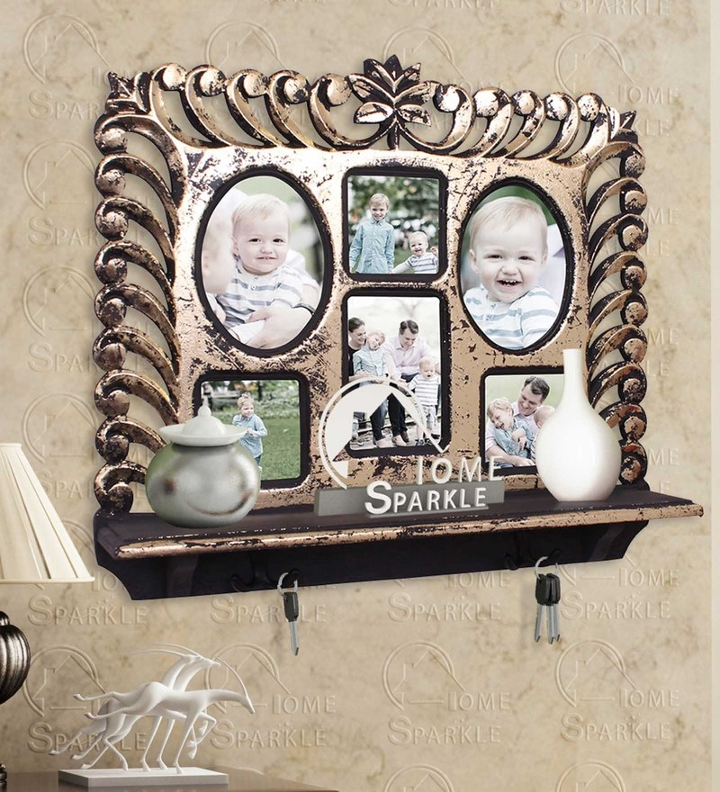 Golden Black Engineered Wood Wall Shelf Photoframe & Hooks By Home Sparkle
