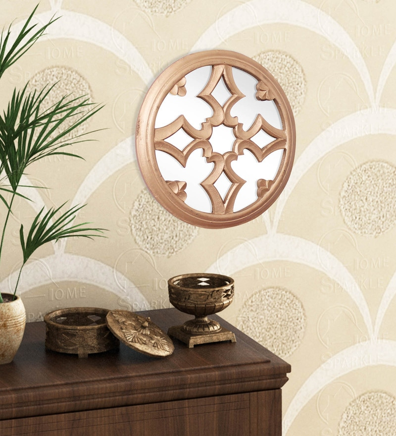 Golden Engineered Wood Wall Hanging Mirror by Home Sparkle