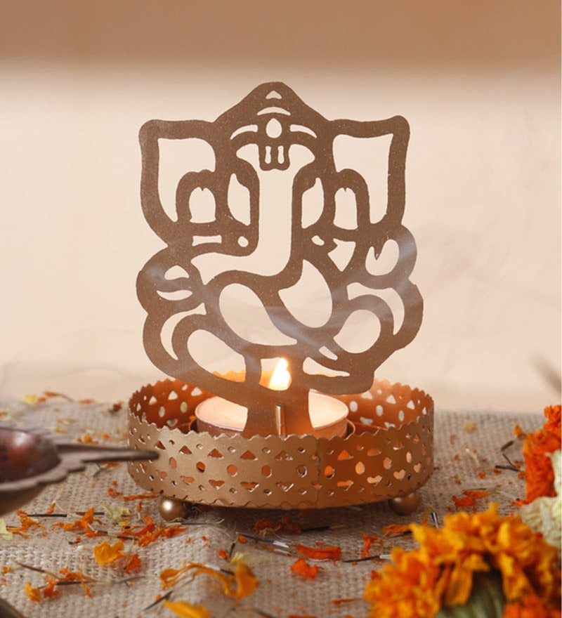 Golden Metal Decorative Shadow Divine Lord  Ganesha Ganpati ji Tealight Candle Holder Light With Tealight by Anasa