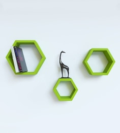 Green Engineered Wood Hexagon Wall Shelves - Set Of 3 By Home Sparkle