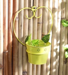 yellow metal single wall mounted planter