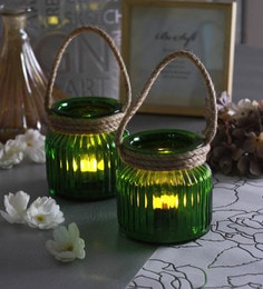 Green Glass Small Jar With Rope Tea Light Holders  - Set Of 2