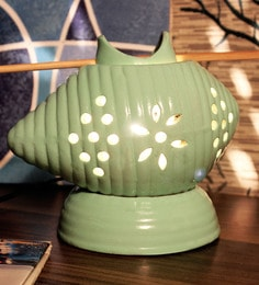 Green Shankh Positivity & PeaceFull Aura Table Lamp And Electric Oil Diffuser With LED Bulb