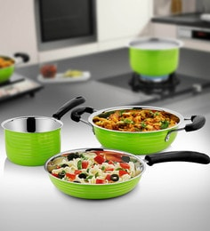 Green Stainless Steel Cookware Set - Set Of 3
