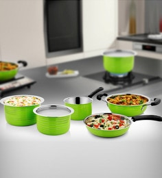 Green Stainless Steel Cookware Set - Set Of 5