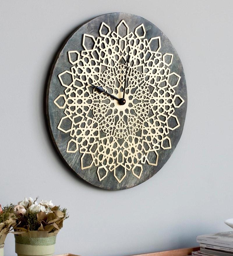 Green & Gold Wood & Aluminium 19 x 0. 3 x 19 Inch Bloem Wall Clock by Orange Tree