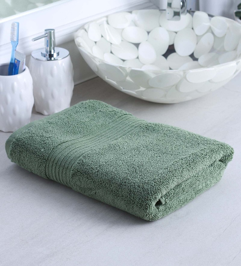 Green 100% Cotton Bath Towel by Raymond Home