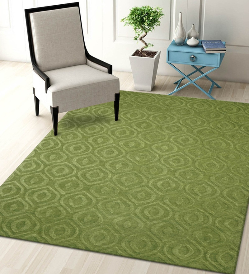 Green Blended Wool 60 x 96 Inch Trendz Design High Low Texture Hand Carving Tufted Carpet by Designs View