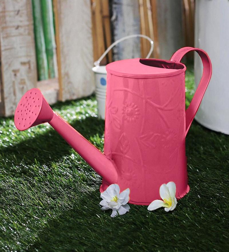 Green Girgit Design Embossed Watercane in Pink Colour