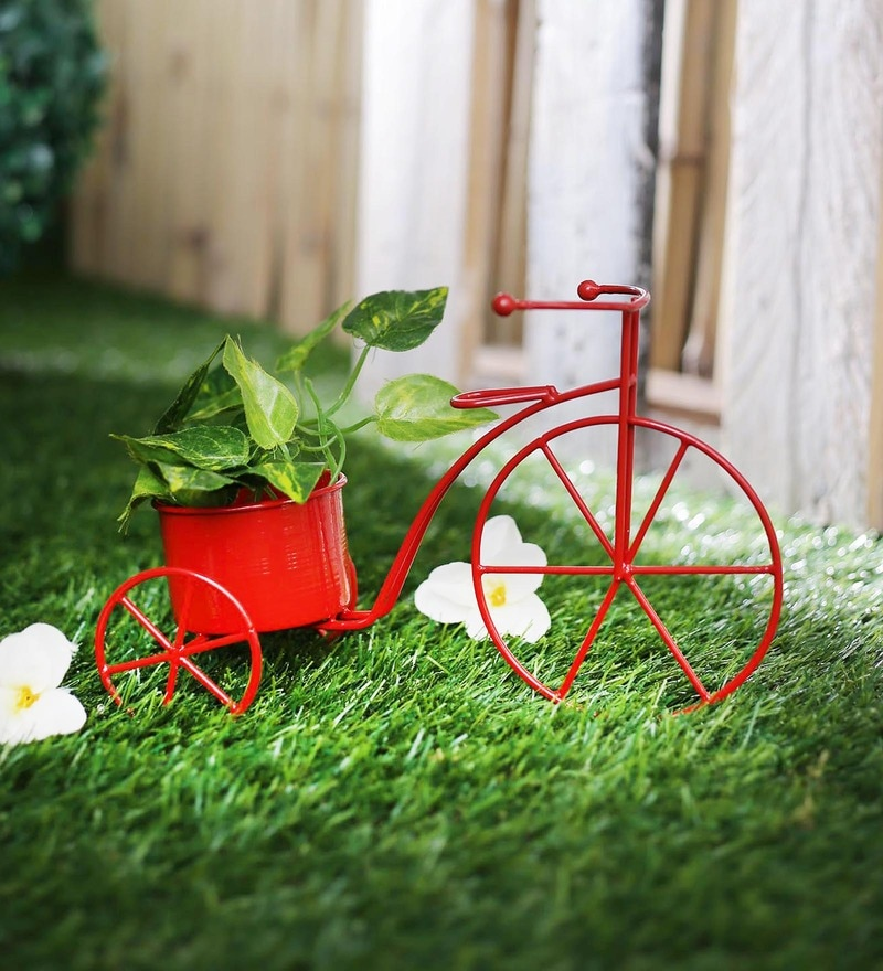 Red Metal Cycle Planter by Green Girgit