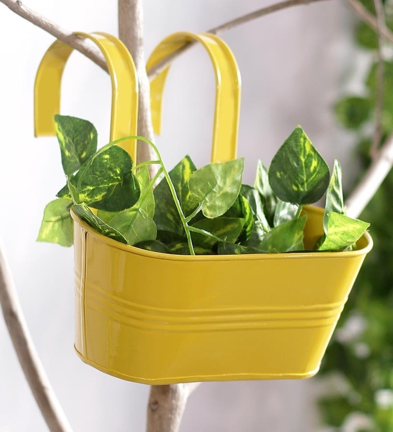 Yellow Oval Metal Railing Planter by Green Girgit