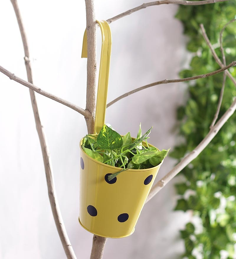 Yellow Polka Dots Railing Planter Pot by Green Girgit