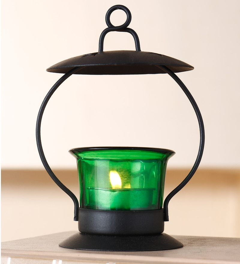 Green Glass Iron Votive  Tealight Candle Holder by Anasa