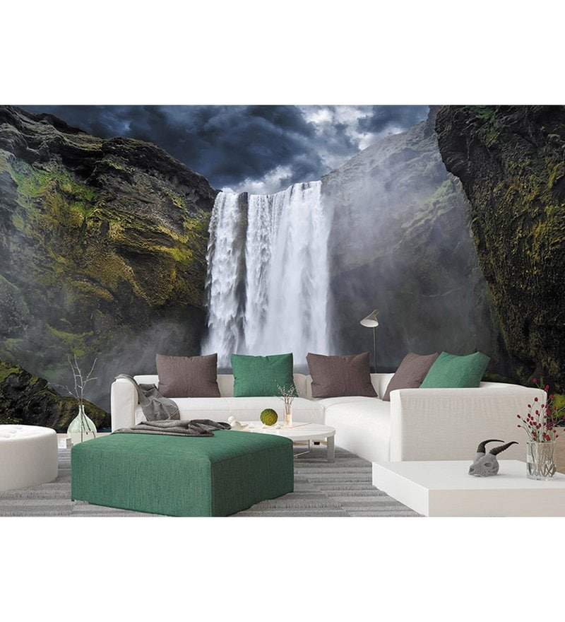 Green Non Woven Paper The Magnificent Waterfall  Wallpaper by Wallskin