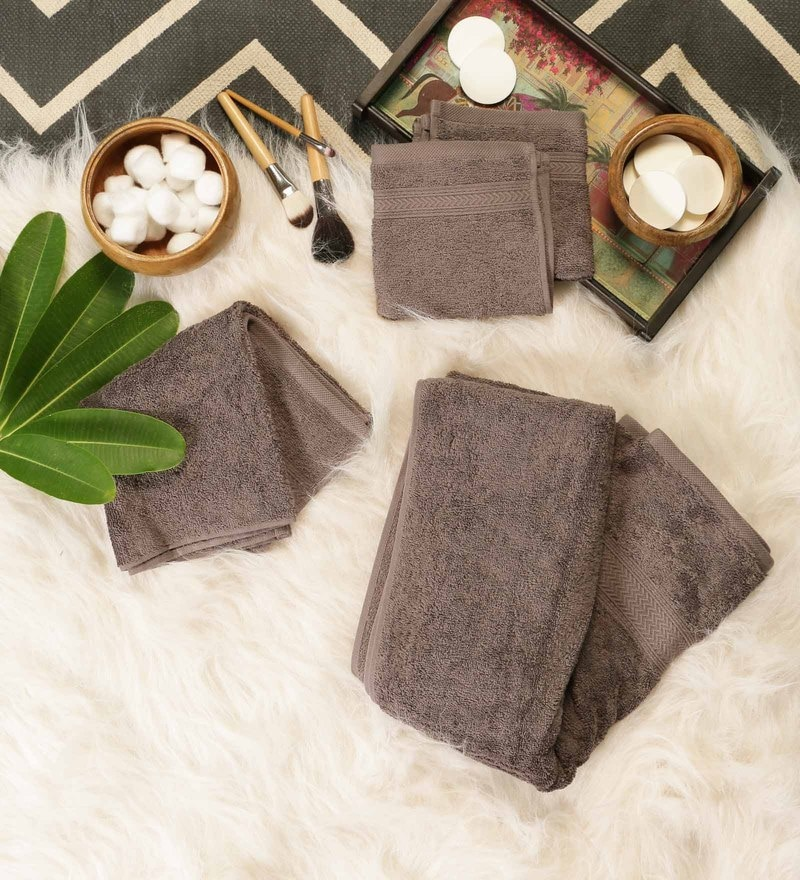 Grey Cotton Bath, Hand & Face Towel Set - Set Of 4 by SWHF