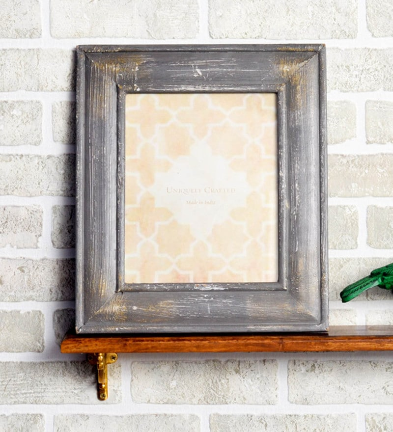 Grey MDF 10 x 1 x 12 Inch Rustic Design Photo Frame by Casa Decor