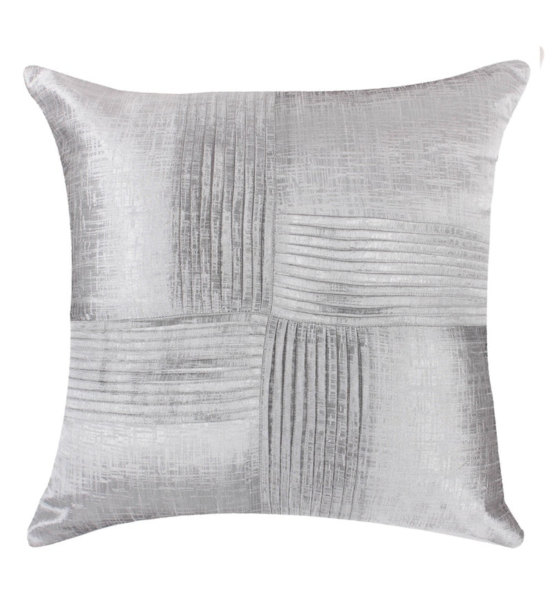 Grey Polyester 16x16 Inch Cushion Cover by Vista Home Fashion
