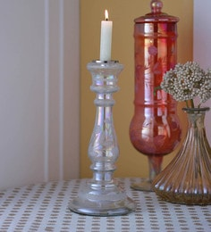 Gupta Glass Gallery White Glass With Etching & Colouring Candle Holder