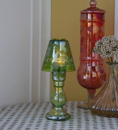 Gupta Glass Gallery Green Glass With Etching & Colouring Candle Holder