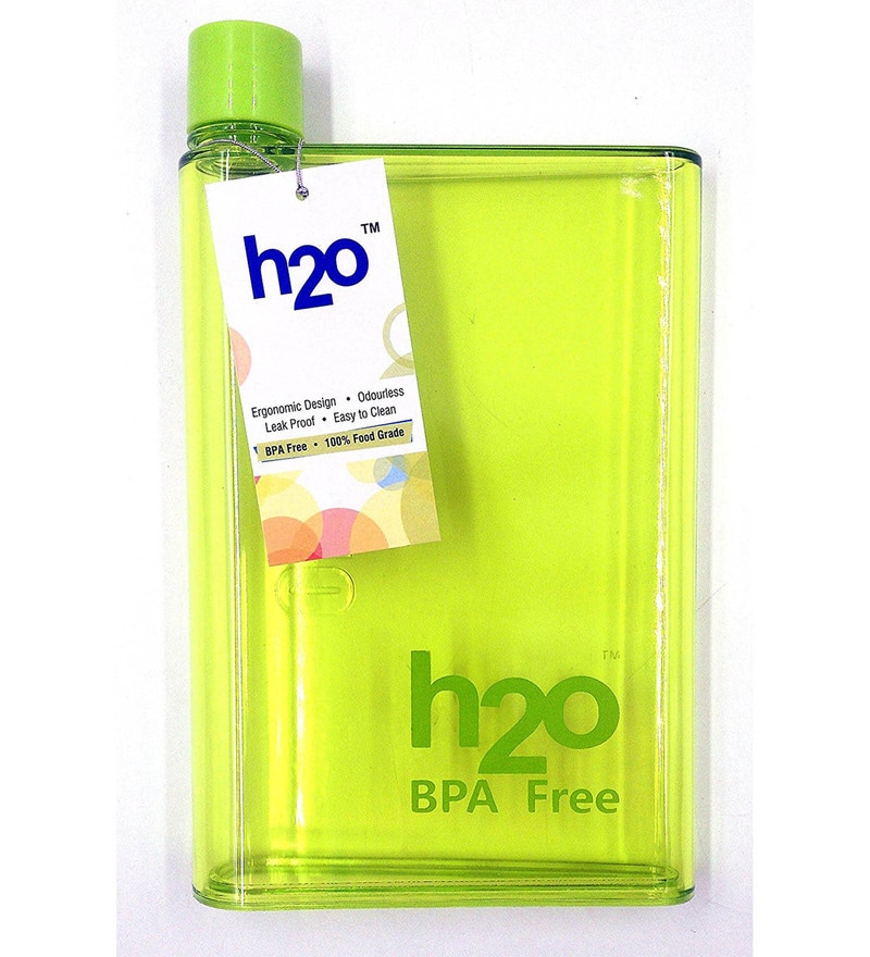 H2O Flat Green Plastic 450 ML Bottle