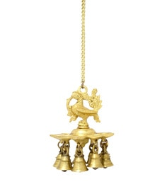 Handecor Antique Yellow Hanging Peacock Deepak With Bells And Chain
