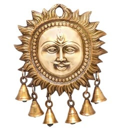 Handecor Royal Bronze Smiling Sun Wall Hanging With Bells