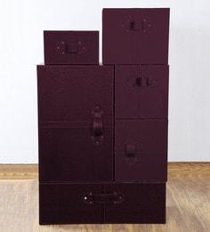 Haus And Sie Faux Leather Wardrobe Style Storage Box Set - Set Of 6 - 1616252