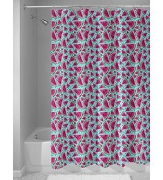 Blue And Pink Nylon 84 X 48 Inch Shower Curtain